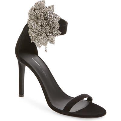 Giuseppe Zanotti Crystal Flower Ankle Strap Sandal, Black