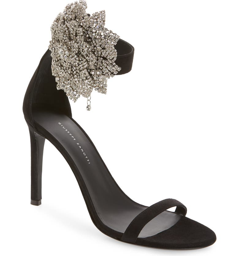 GIUSEPPE ZANOTTI Crystal Flower Ankle Strap Sandal, Main, color, BLACK