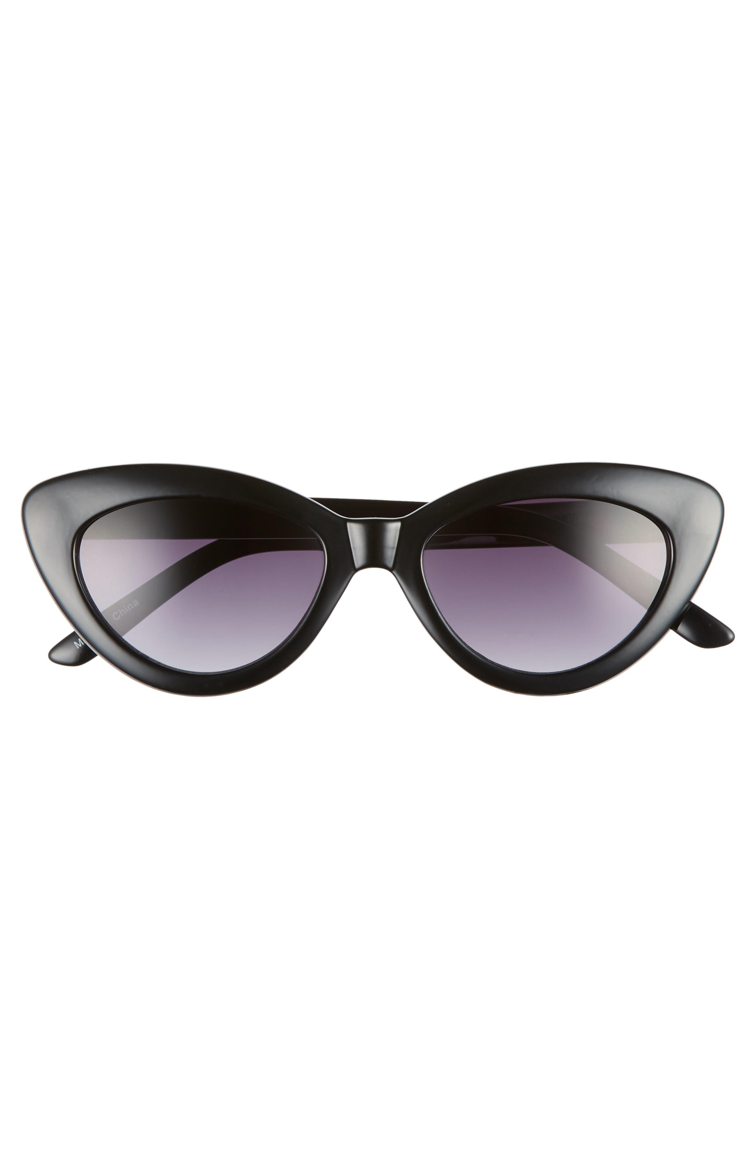 ,                             51mm Cat Eye Sunglasses,                             Alternate thumbnail 3, color,                             BLACK