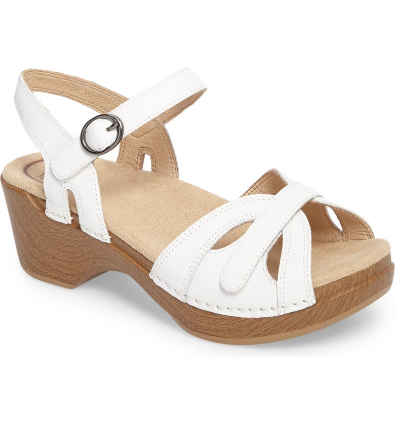 DANSKO Season Sandal, Main, color, WHITE LEATHER