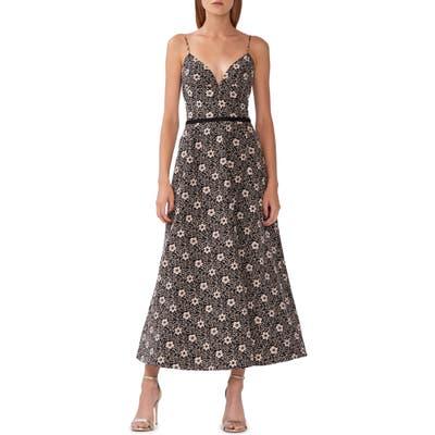 Ml Monique Lhuillier Floral Jacquard Evening Dress, Black