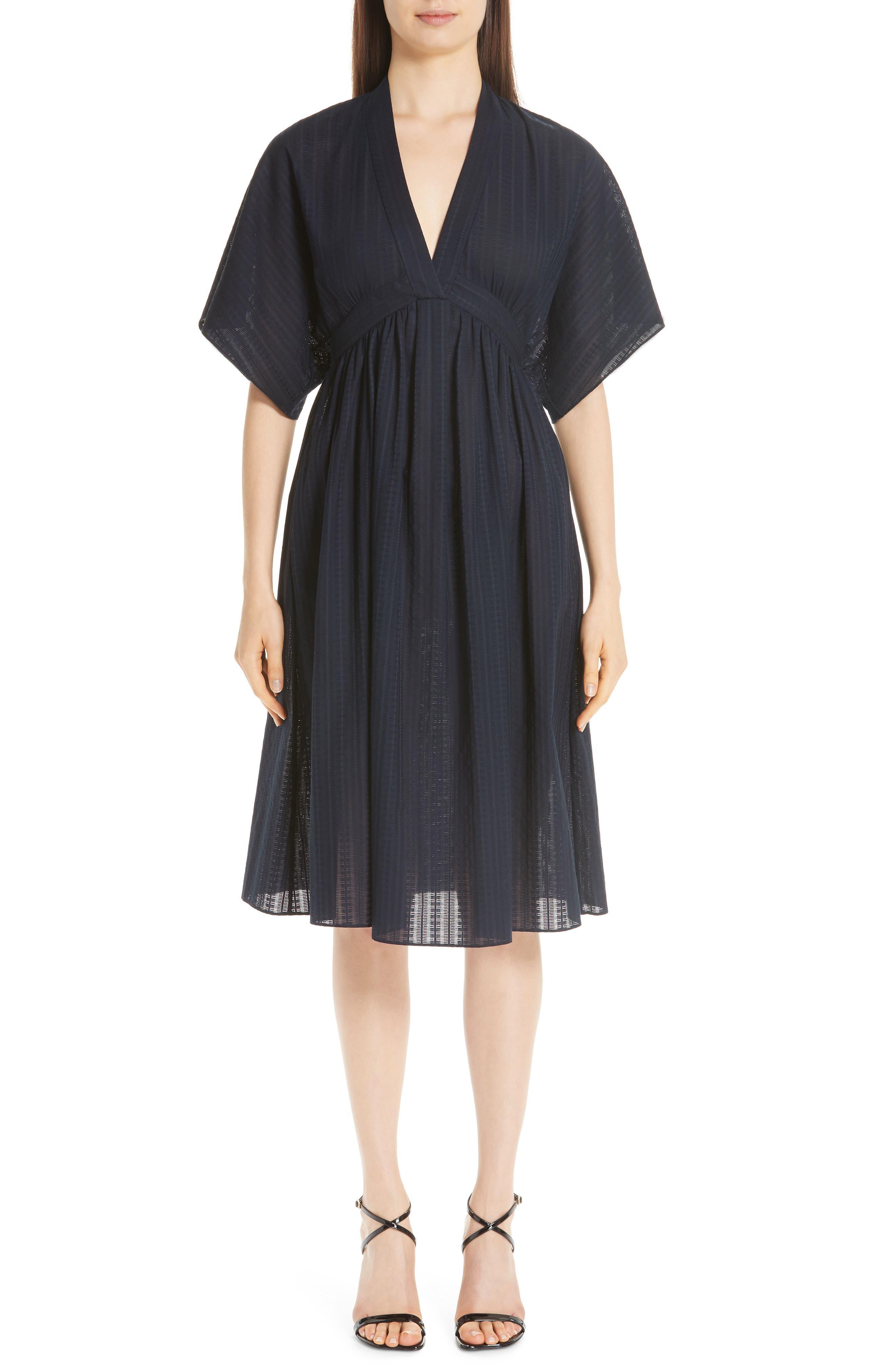 women's adam lippes swiss voile dress, size 0 - blue