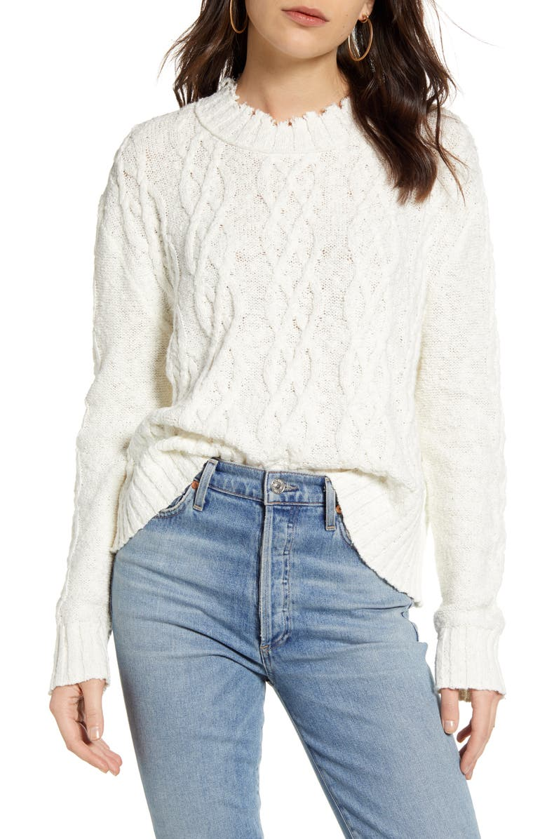 TREASURE & BOND Cable Cotton Blend Sweater, Main, color, IVORY