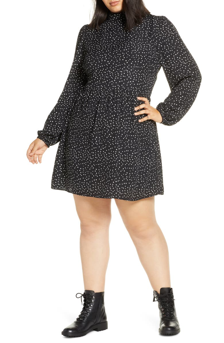BP. Print Mock Neck Long Sleeve Dress, Main, color, 001