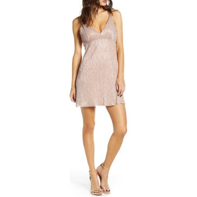 Speechless Glitter Sleeveless A-Line Minidress, Pink