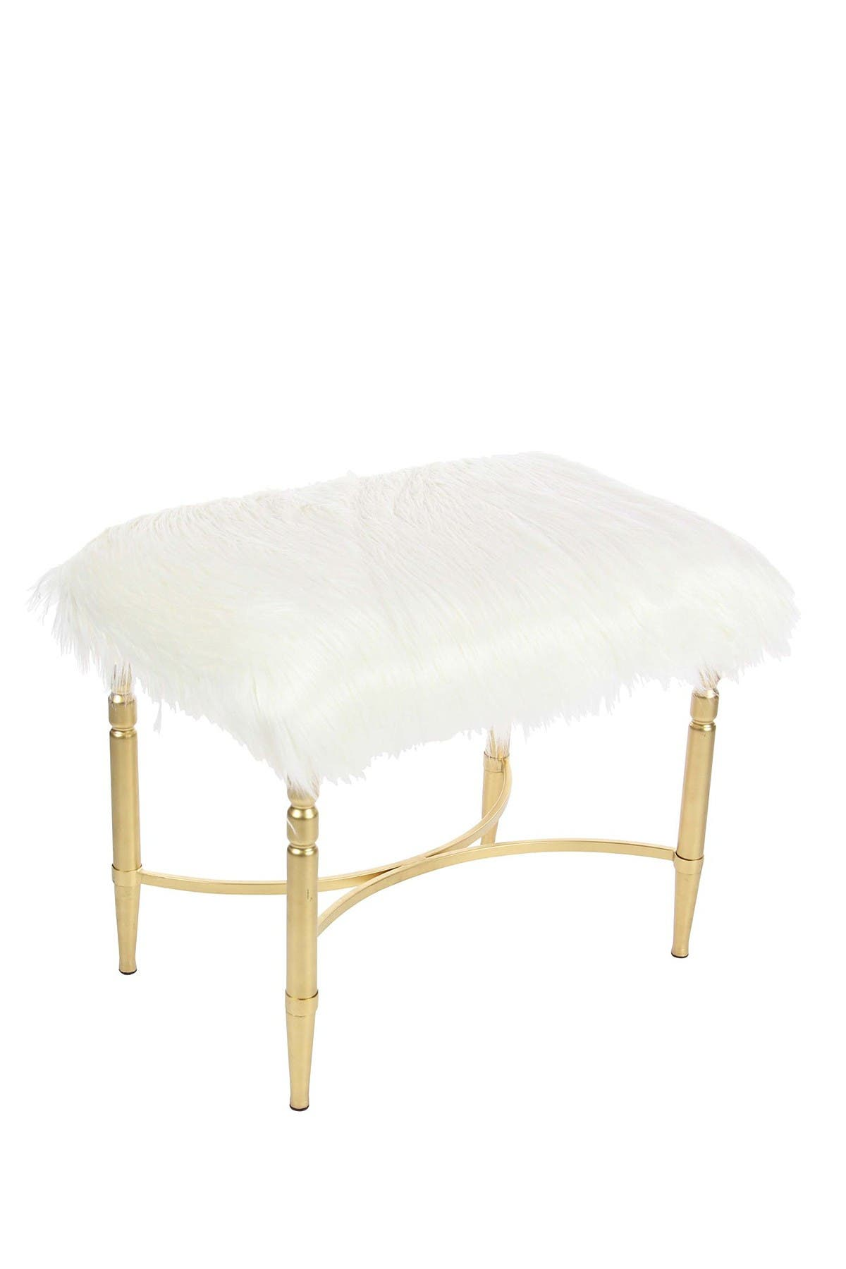 Image of Willow Row White/Gold Faux Fur Stool