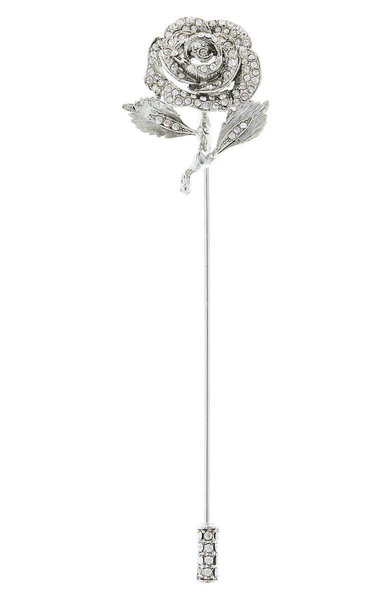 OSCAR DE LA RENTA Crystal Rose Brooch, Main, color, SILVER