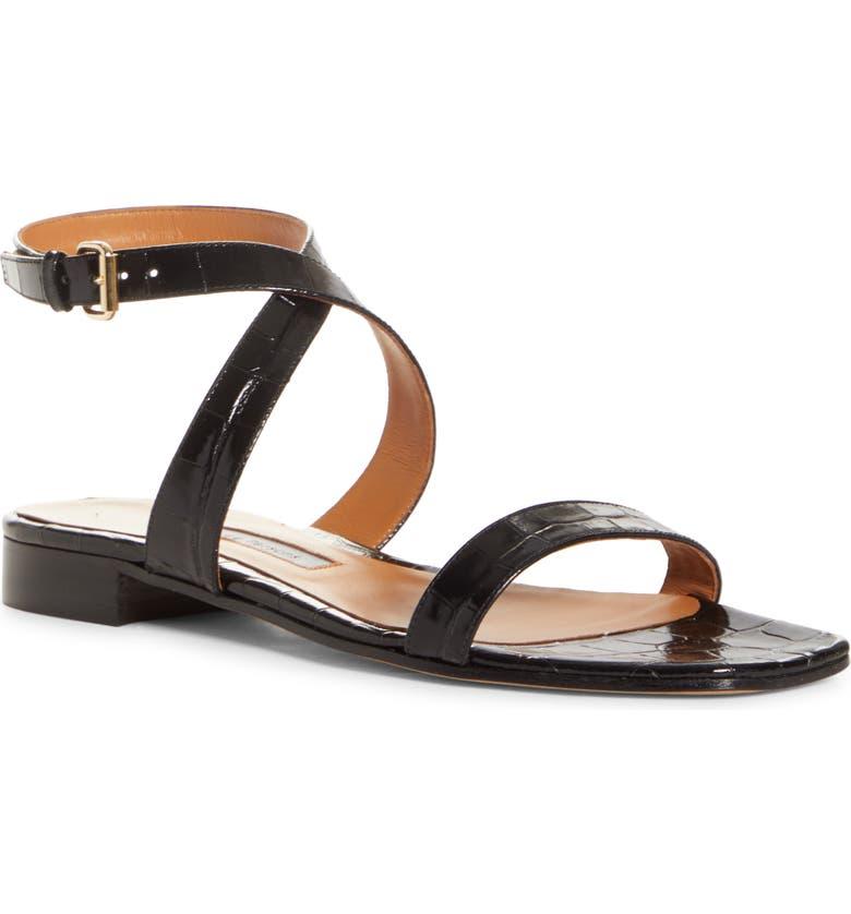 EMME PARSONS Siena Croc Embossed Ankle Strap Sandal, Main, color, 001