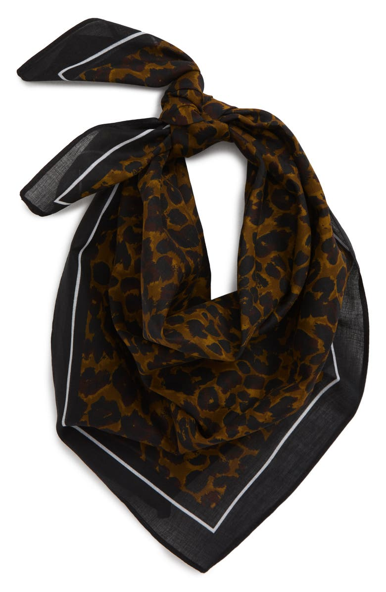 BP. Animal Print Square Scarf, Main, color, BROWN LEOPARD