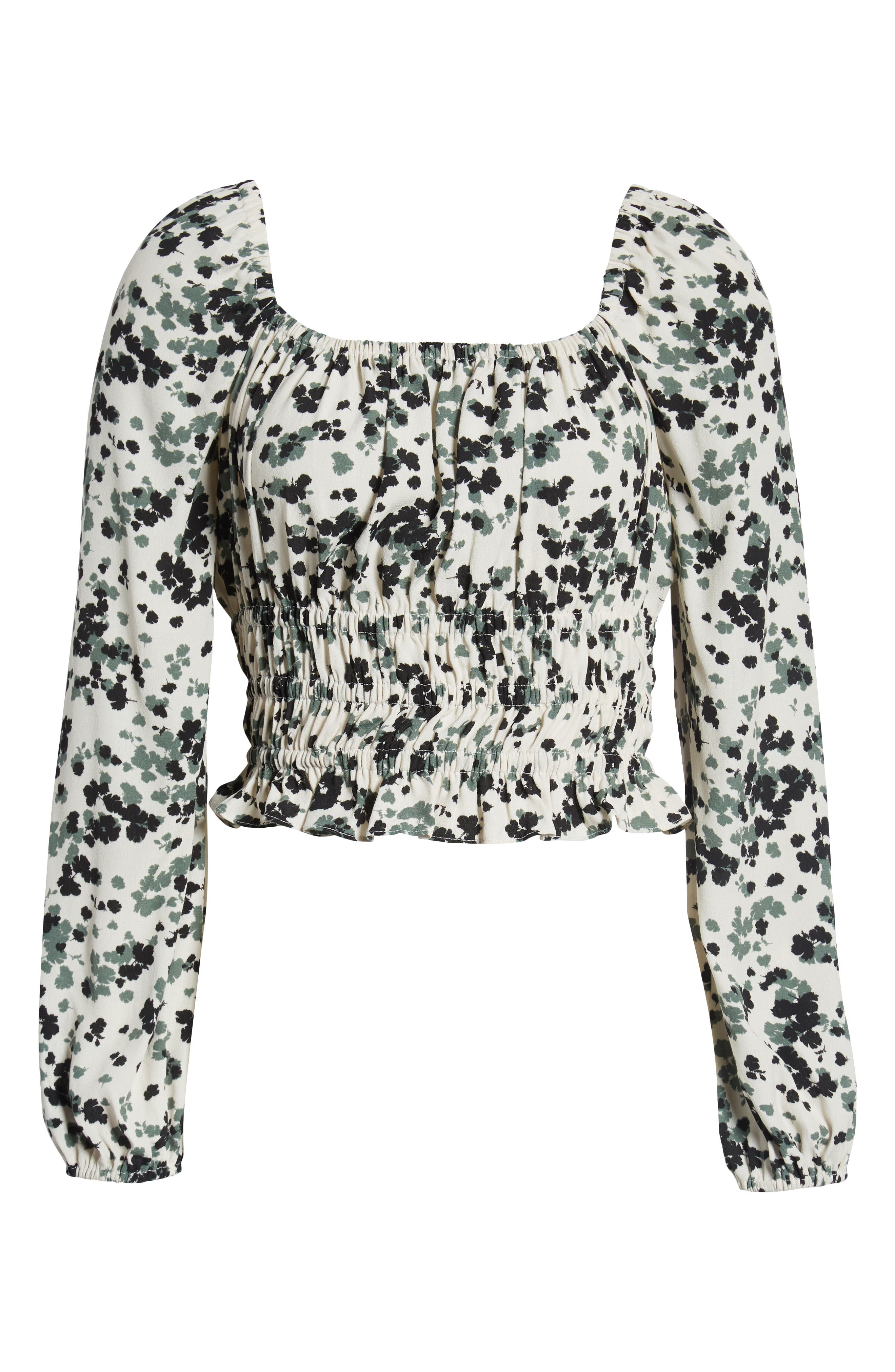 ,                             Square Neck Smocked Top,                             Alternate thumbnail 6, color,                             TAUPE- OLIVE MULTI FLORAL