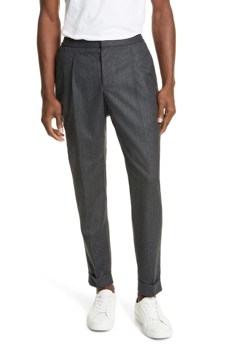 OFFICINE GÉNÉRALE Drew Crop Wool Flannel Pants, Main, color, CHARCOAL