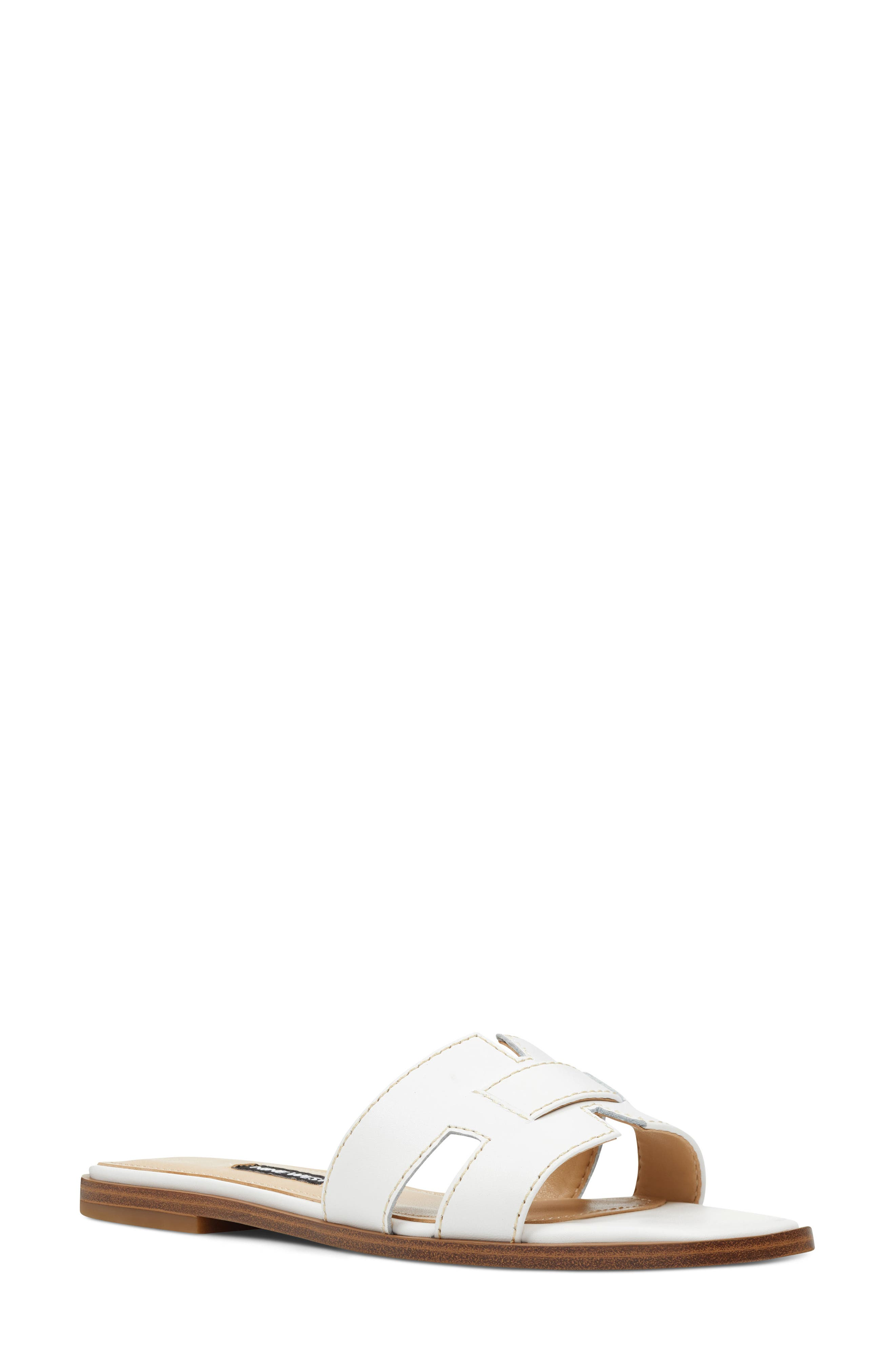 Gianna Cutout Slide Sandal, Main, color, WHITE LEATHER