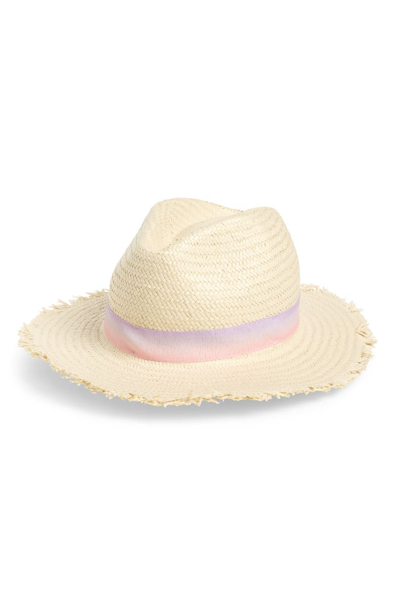 TROUVÉ Tie Dye Band Straw Fedora, Main, color, PINK COMBO