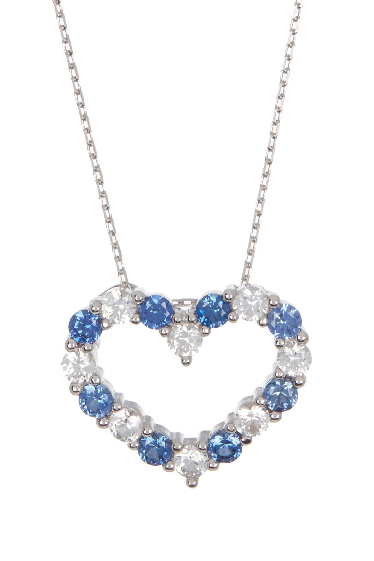 Image of Suzy Levian Sterling Silver Sapphire & Diamond Accent Open Heart Pendant Necklace