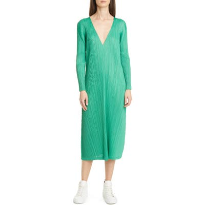 Pleats Please Issey Miyake Pleated Long Sleeve Midi Dress, (fits like 4-6 US) - Green