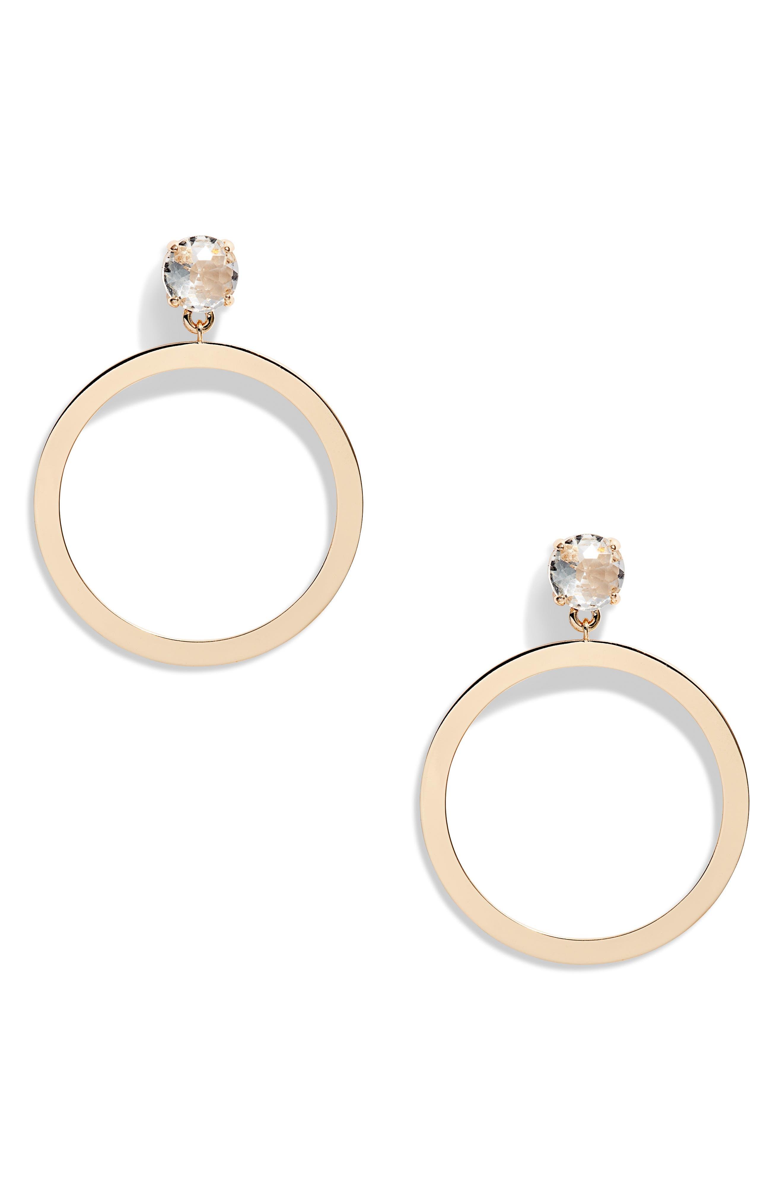 Crystal Frontal Hoop Earrings, Main, color, 710