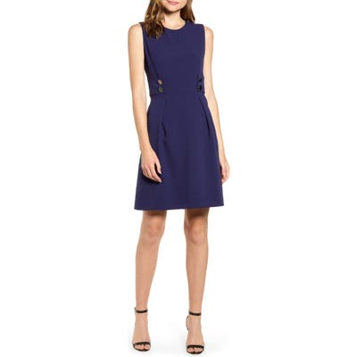 Anne Klein Crepe Fit & Flare Dress, Blue