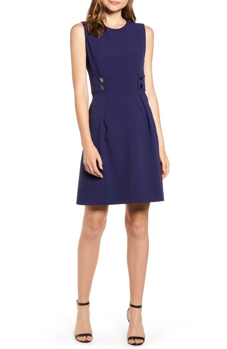 ANNE KLEIN Crepe Fit & Flare Dress, Main, color, ECLIPSE