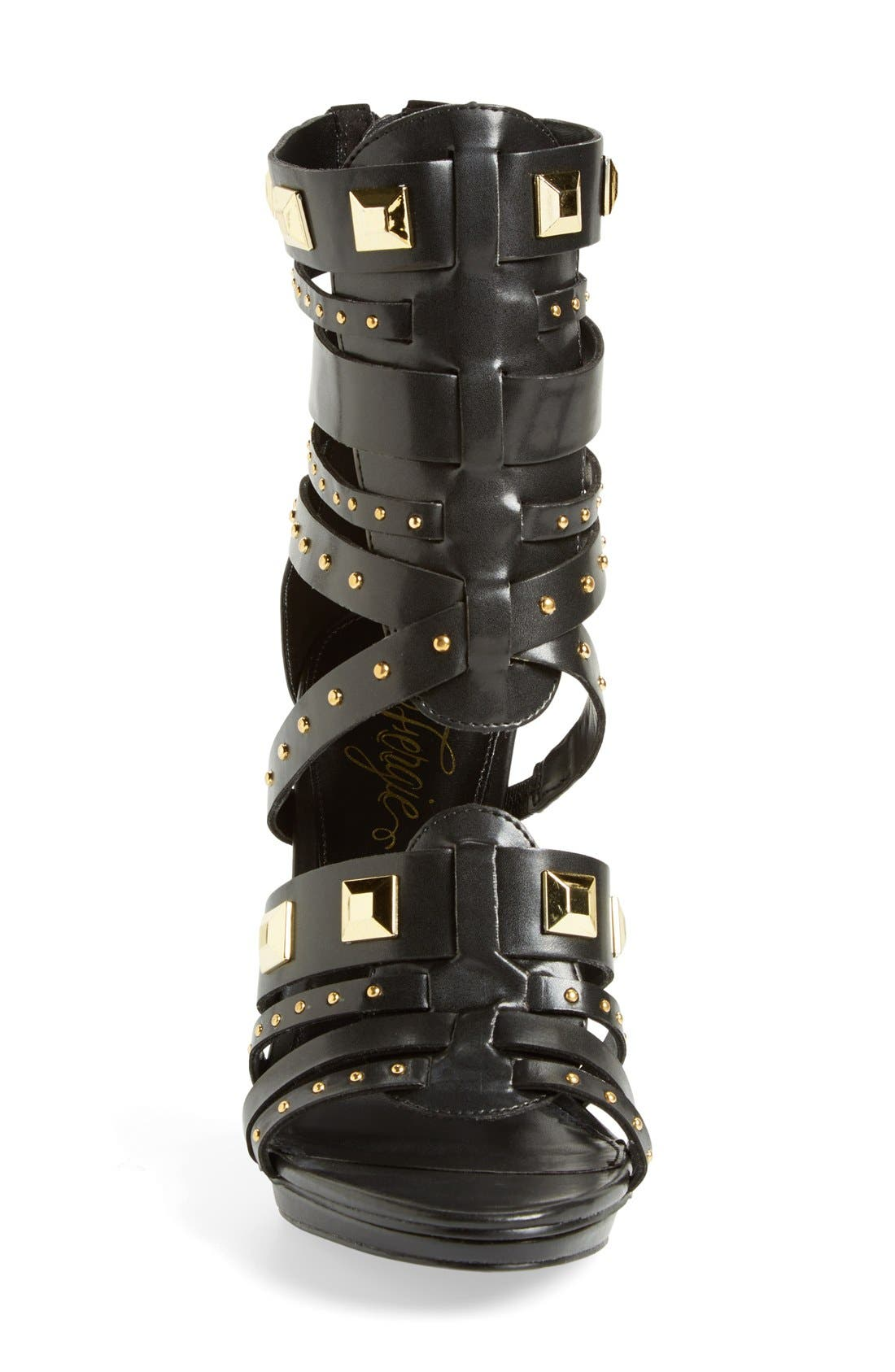 ,                             'Bonnie' Studded Strappy Sandal,                             Alternate thumbnail 3, color,                             001
