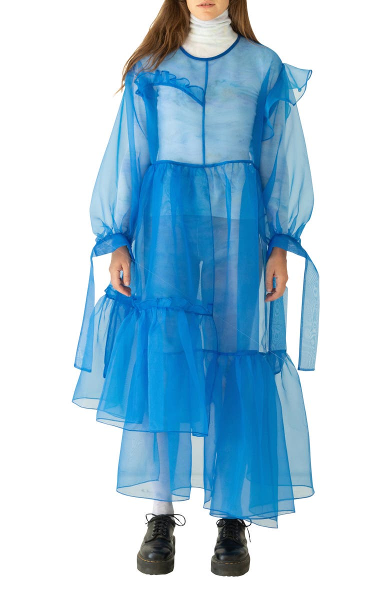 KKCO Nine Twenty-Seven Asymmetrical Ruffle Sheer Organza Dress, Main, color, BLUE