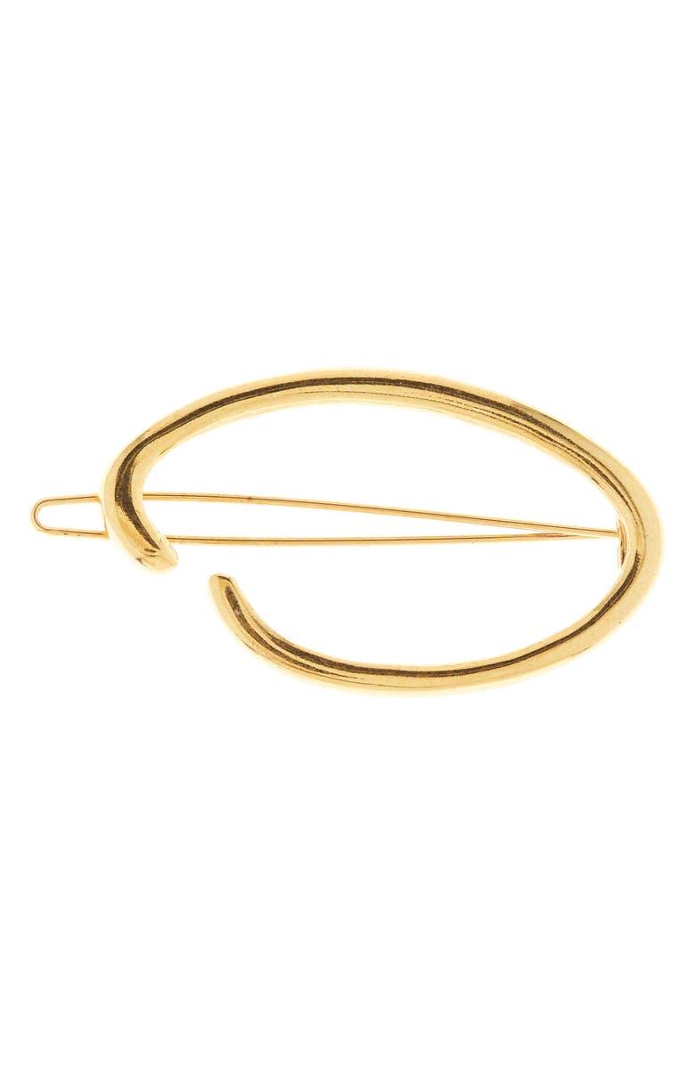 OSCAR DE LA RENTA O Logo Hair Clip, Main, color, GOLD
