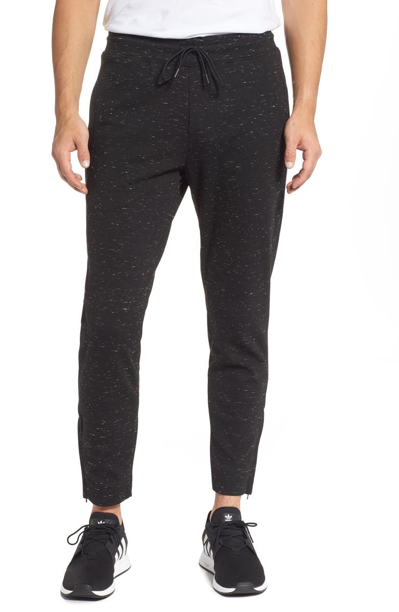 REIGNING CHAMP Ponte Neppy Knit Track Pants, Main, color, BLACK