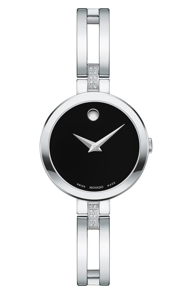 MOVADO Esperanza Diamond Bangle Watch, 25mm, Main, color, SILVER/ BLACK/ SILVER