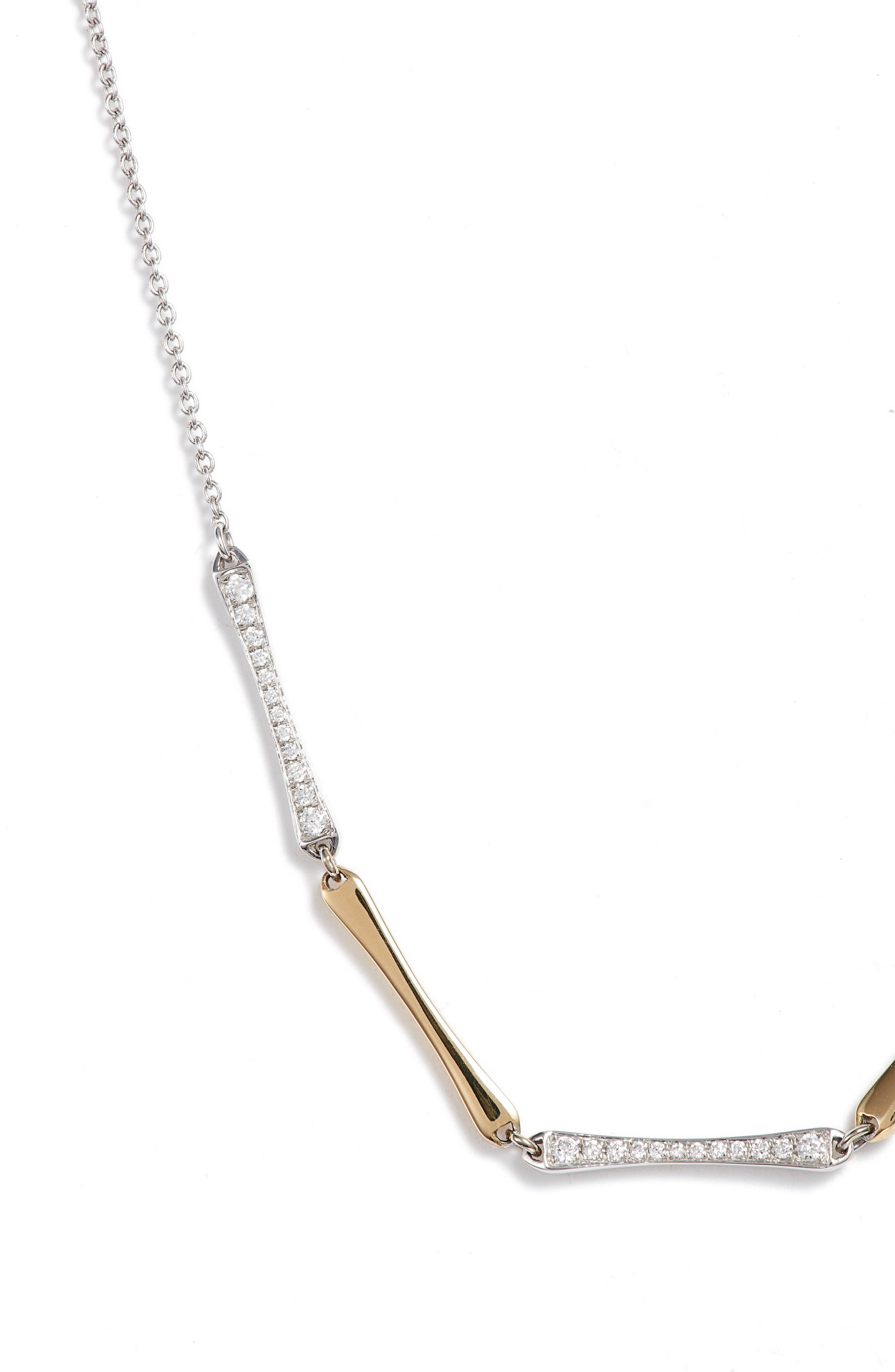 ,                             5-Station Bar Necklace with Diamonds,                             Alternate thumbnail 2, color,                             YELLOW GOLD/ WHITE GOLD