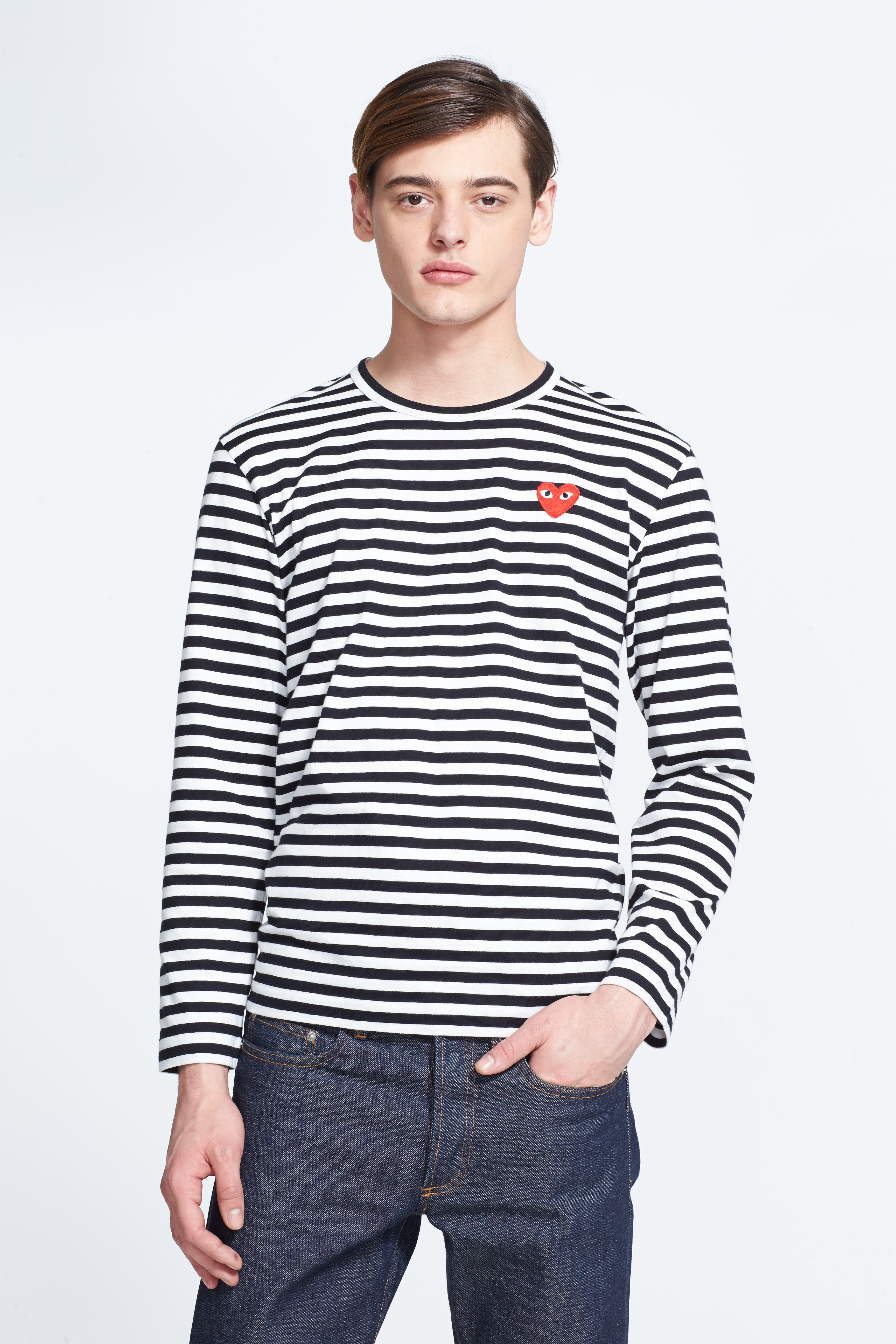 Sebaby Mens Pocket Long Sleeve Striped Button Down Basic Style T-Shirts