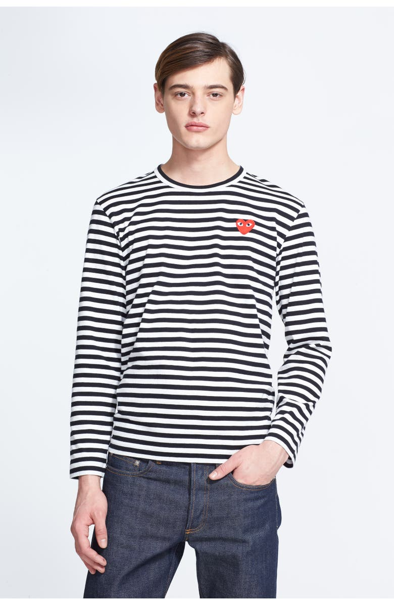 COMME DES GARÇONS PLAY Stripe Slim Fit Long Sleeve T-Shirt, Main, color, BLACK/ WHITE