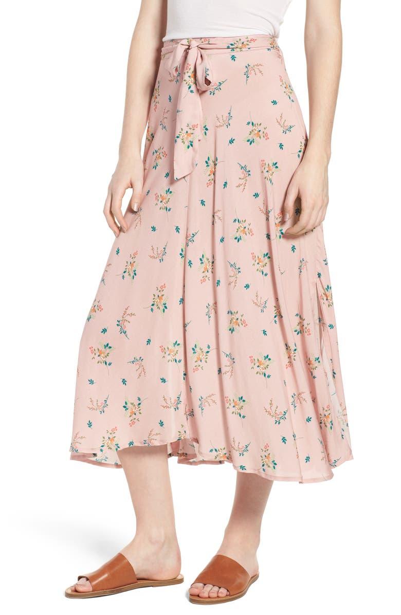 VELVET BY GRAHAM & SPENCER Floral Print Midi Skirt, Main, color, 657
