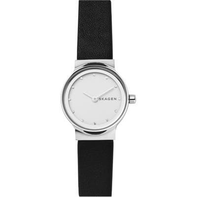 Skagen Freja Crystal Accent Leather Strap Watch, 2m
