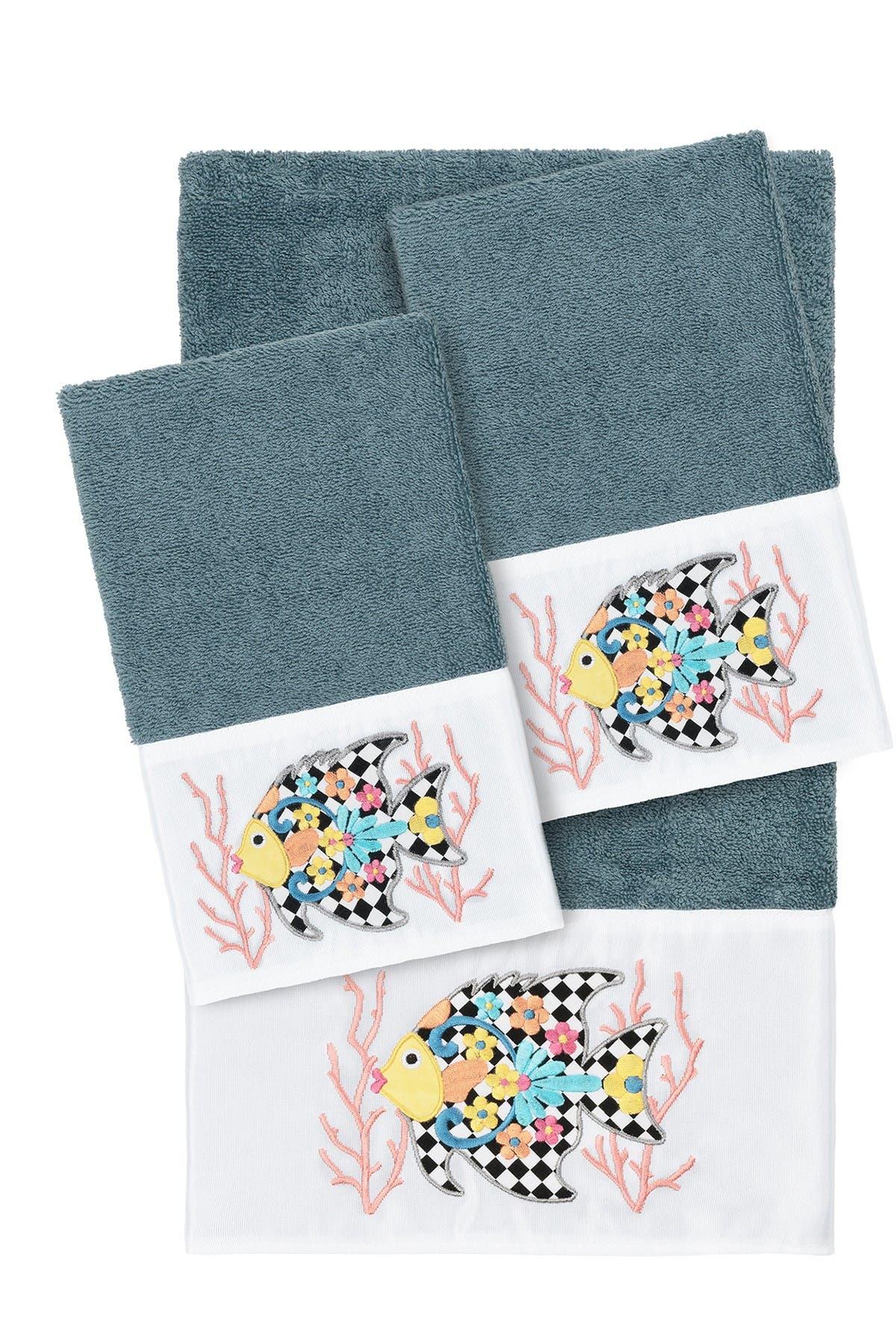 Image of LINUM HOME Feliz 3-Piece Embellished Towel - Teal