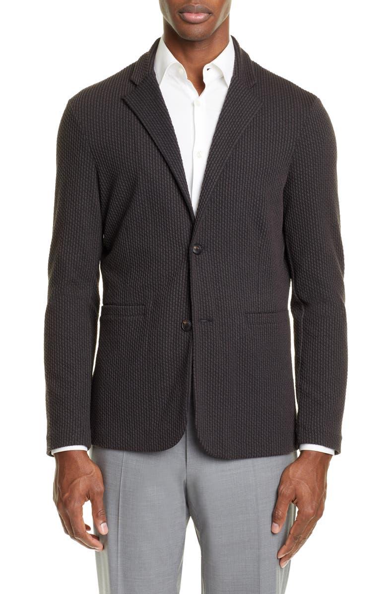EMPORIO ARMANI Trim Fit Stretch Sport Coat, Main, color, 001
