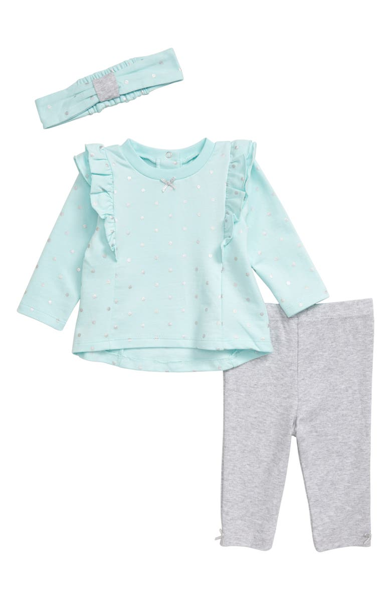 LITTLE ME Metallic Dot Shirt, Leggings & Headband Set, Main, color, GREY