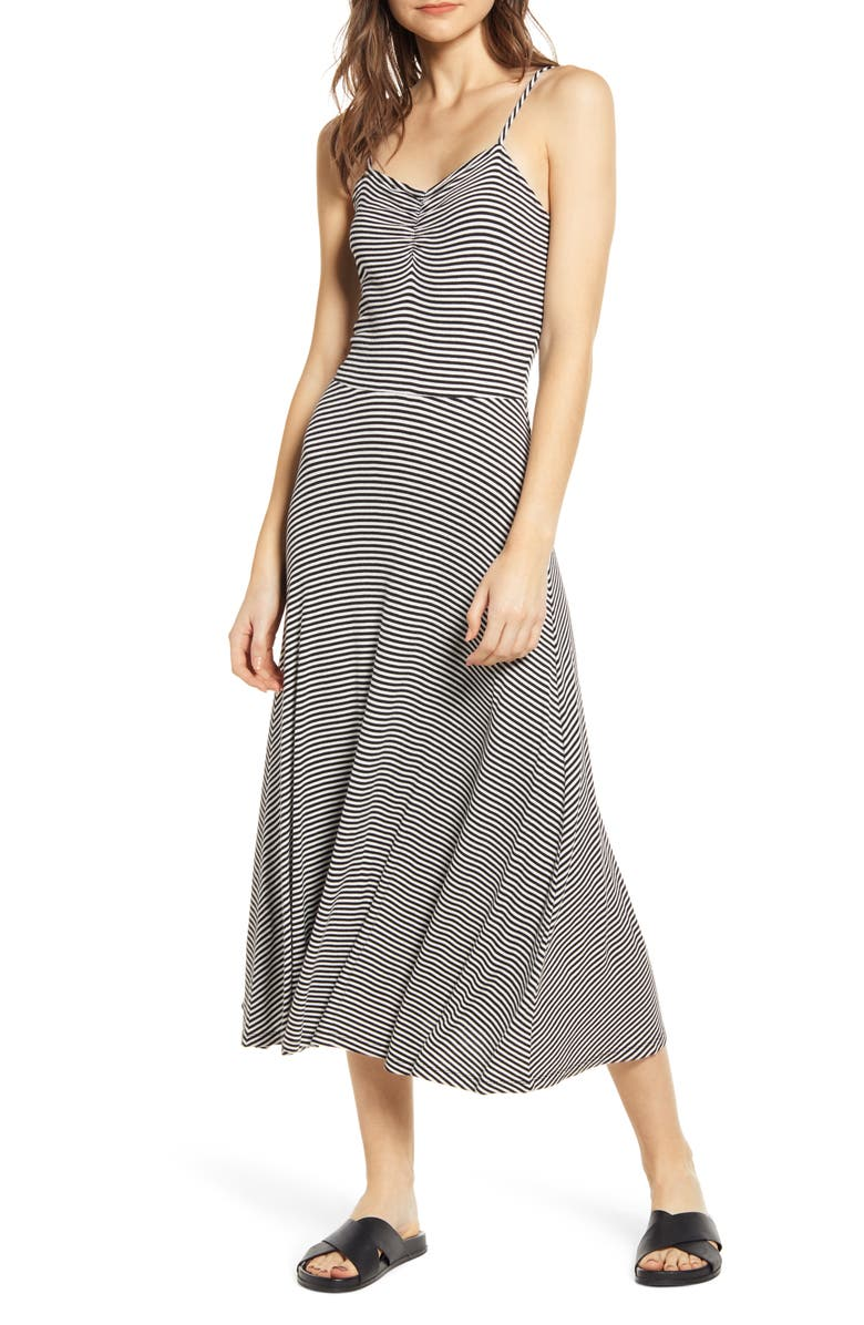 BP. Ruched Rib Midi Dress, Main, color, 001