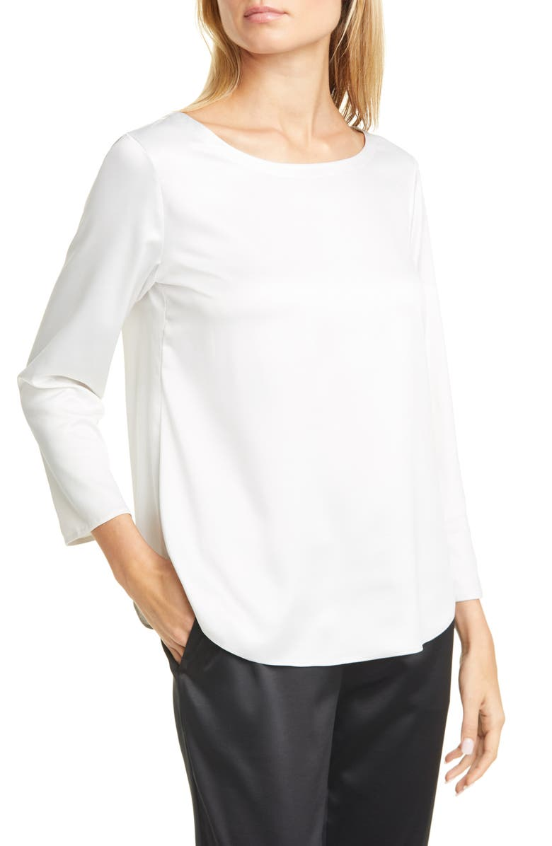 EILEEN FISHER Recycled Satin Blouse, Main, color, BONE