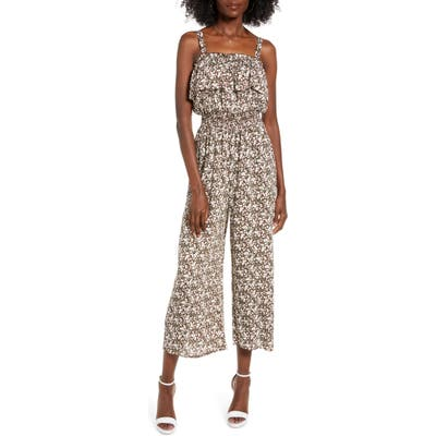 All In Favor Ruffle Detail Culotte Jumpsuit, Brown
