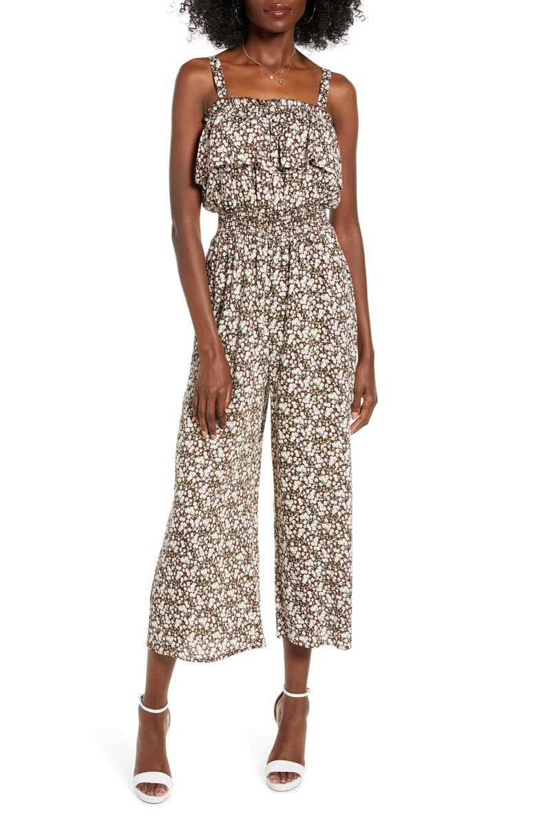 ALL IN FAVOR Ruffle Detail Culotte Jumpsuit, Main, color, BROWN-CREAM