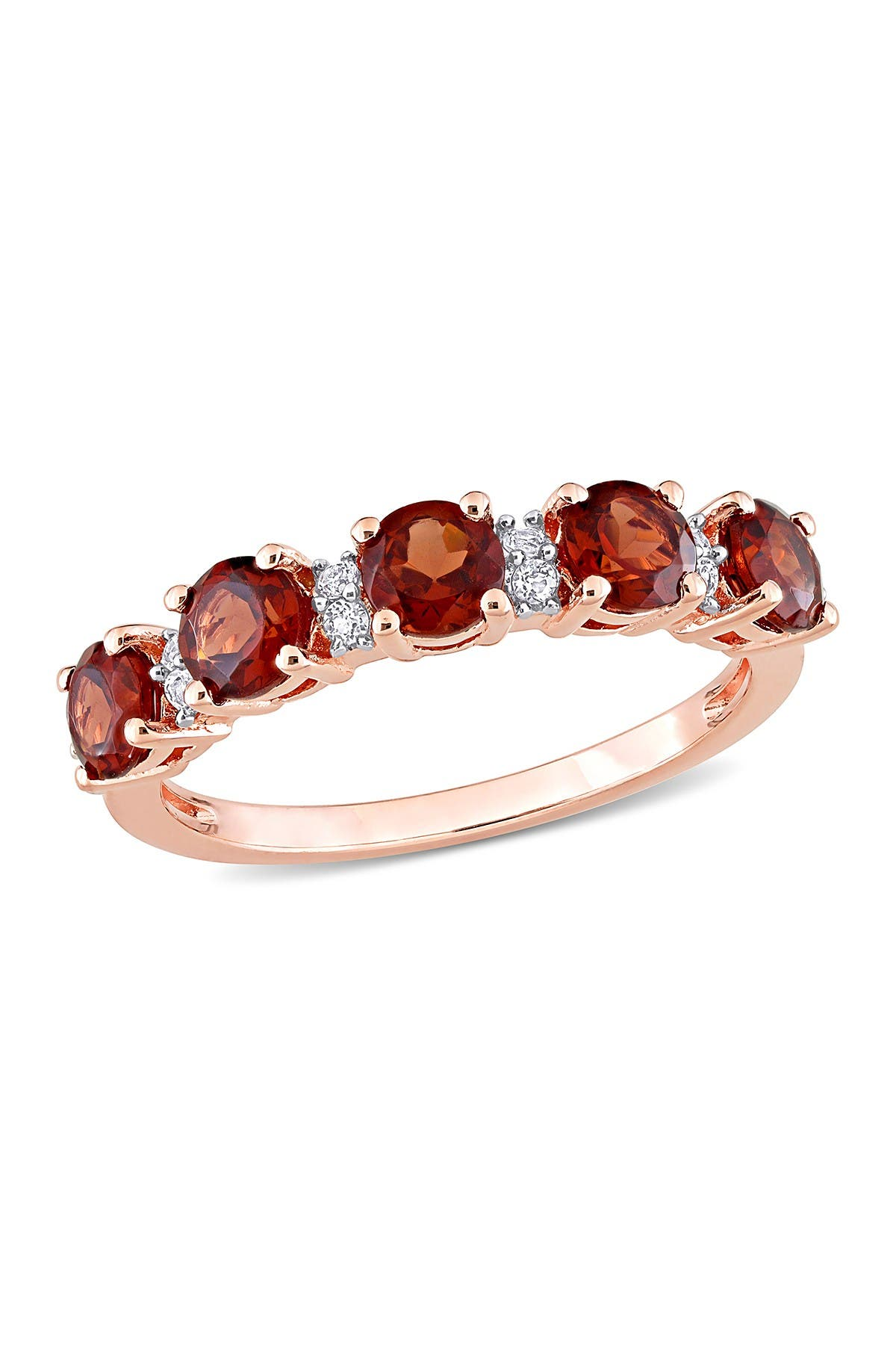 Image of Delmar 18K Rose Gold Plated Sterling Silver Circle Cut Garnet & White Topaz Eternity Ring