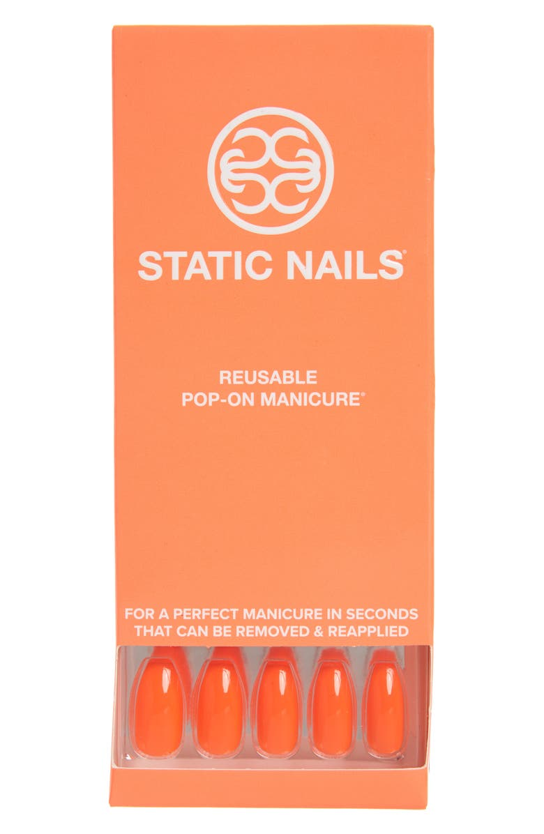 STATIC NAILS Neon Orange Pop-On Reusable Manicure Set, Main, color, NEON ORANGE