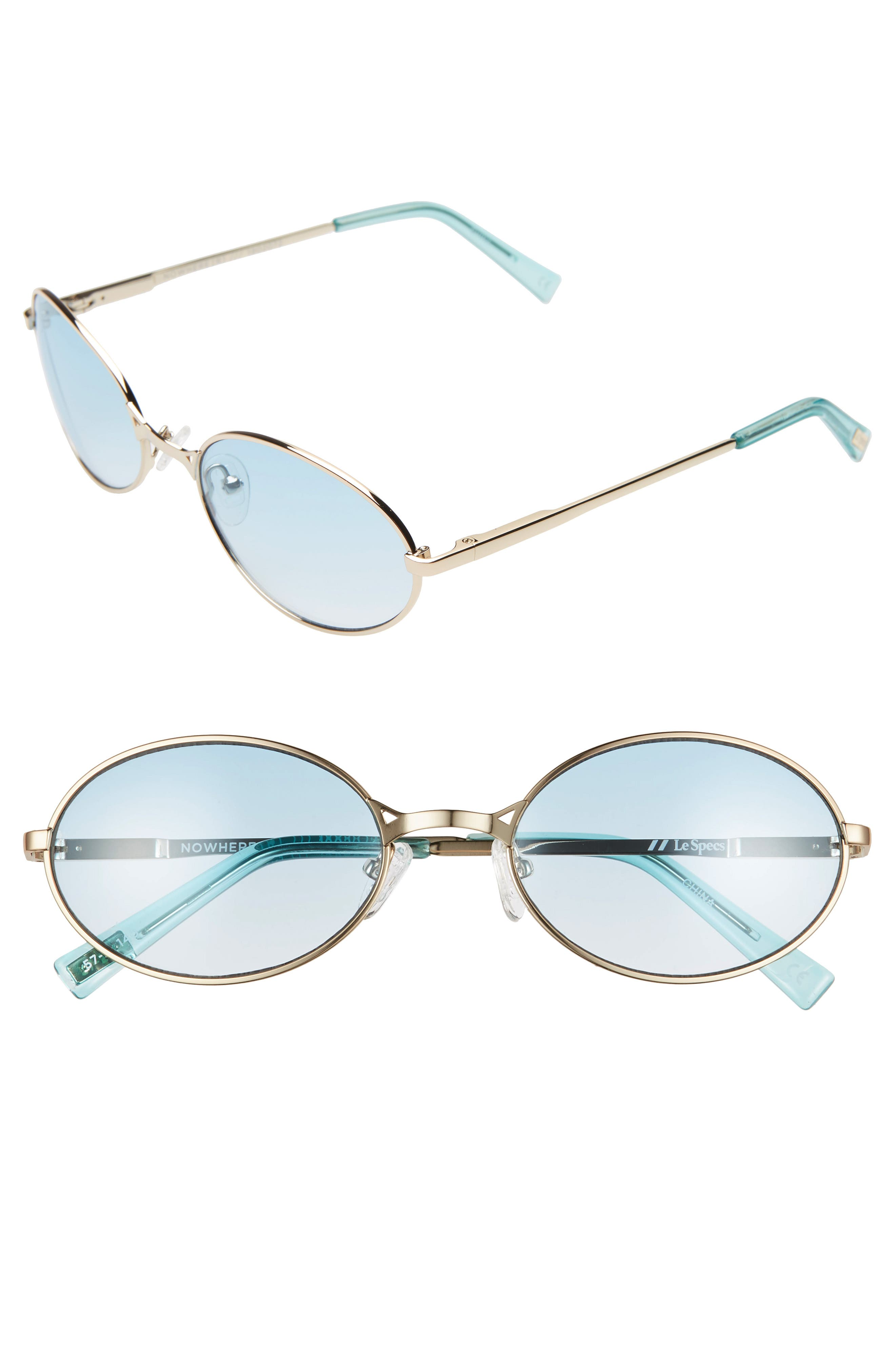 Le Specs Nowhere Rund 57Mm Oval Sunglasses - Bright Gold/ Teal Gradient