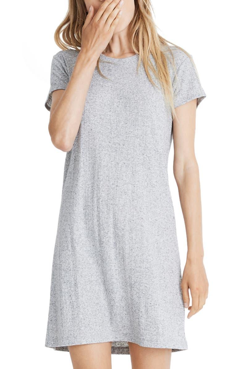 MADEWELL Ruffled Pajama T-Shirt Dress, Main, color, VARIGATED RIB HEATHER