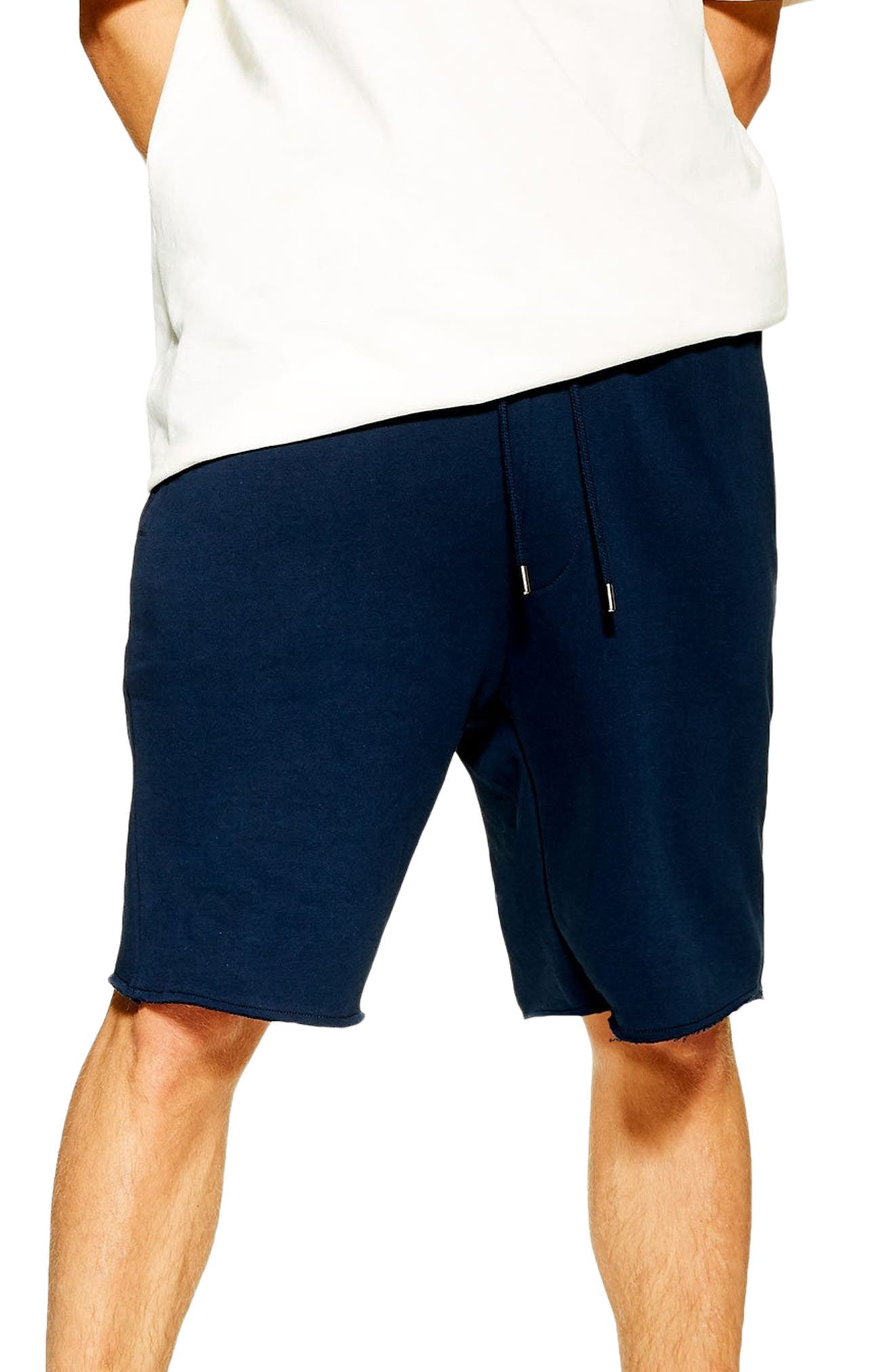 ,                             Jersey Sweat Shorts,                             Main thumbnail 1, color,                             NAVY BLUE