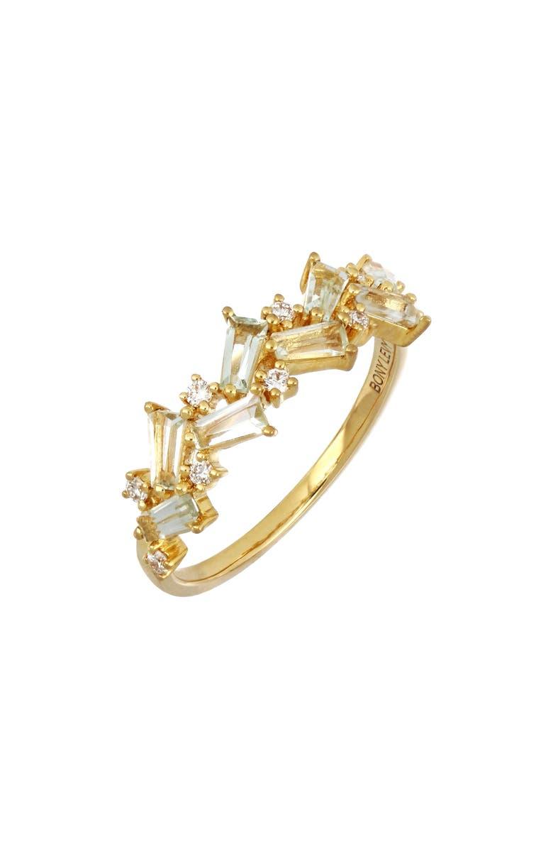BONY LEVY Green Tourmaline & Diamond Ring, Main, color, YELL GOLD/ GRN TOURMA/DIAMND