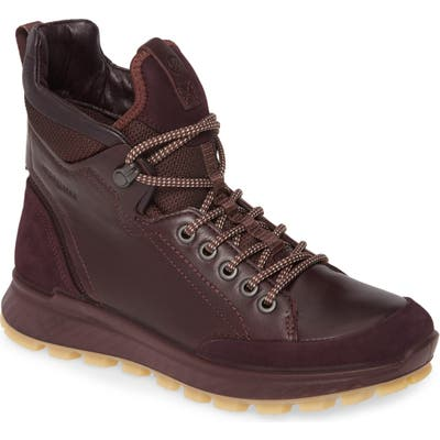 Ecco Exostrike Hydromax Lace-Up Boot, Burgundy