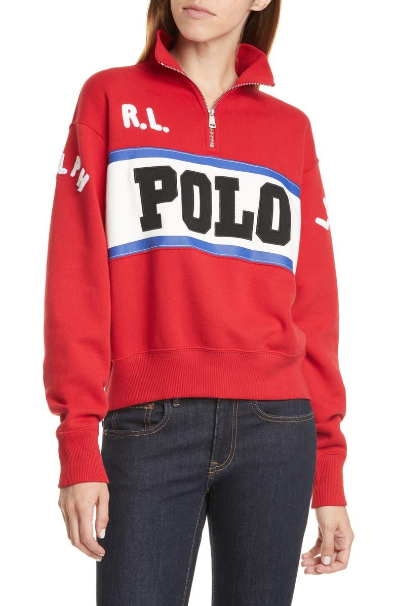 POLO RALPH LAUREN Half-Zip Sweatshirt, Main, color, CHARTER RED