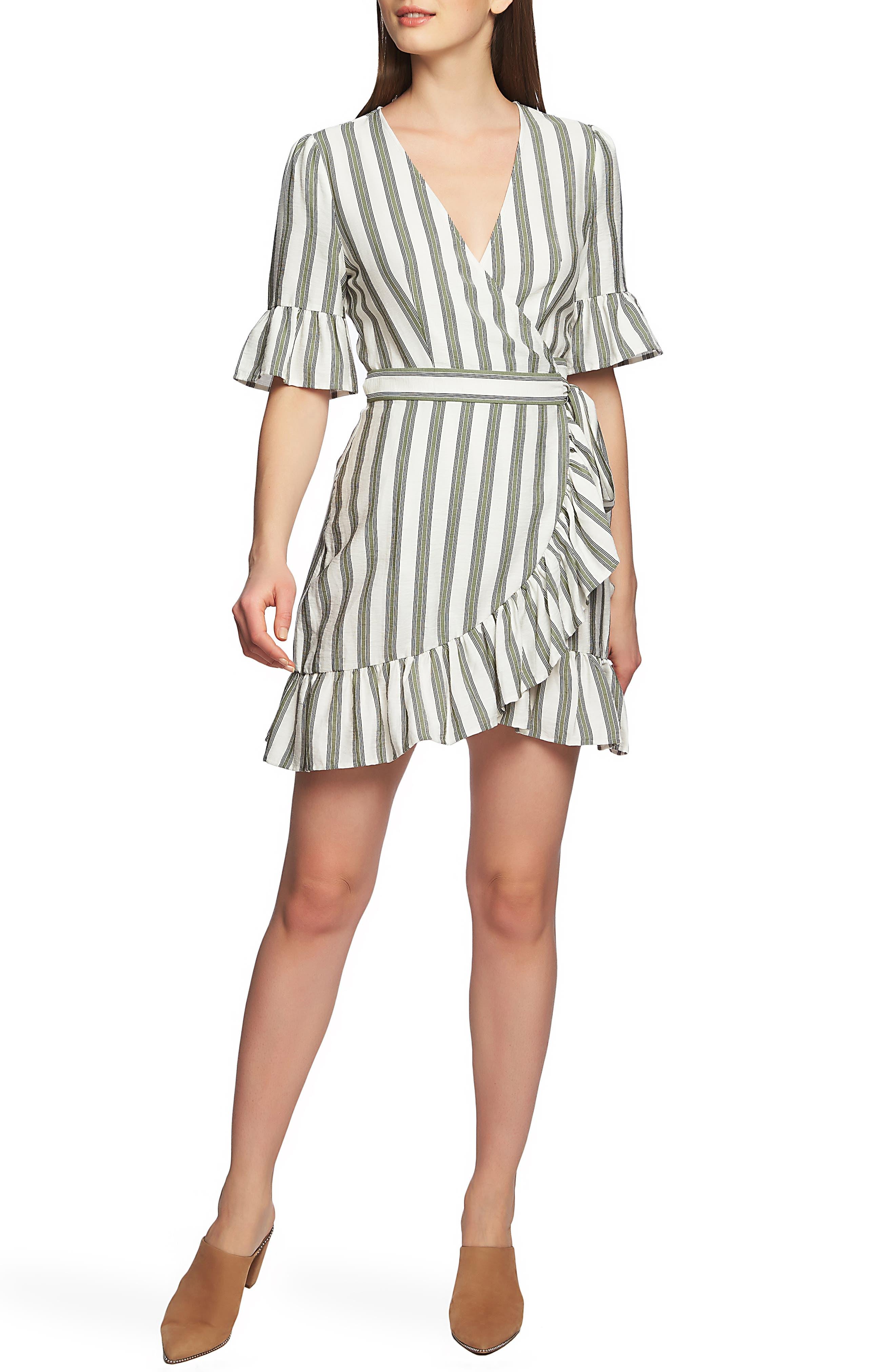 1.state Flounce Stripe Wrap Dress, Green