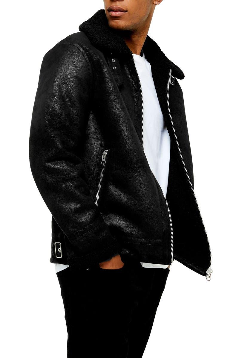 TOPMAN Faux Shearling Classic Aviator Jacket, Main, color, BLACK