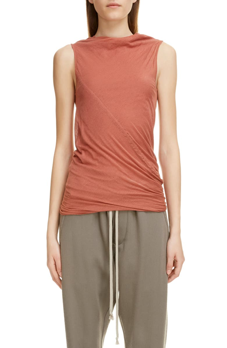 RICK OWENS Ruched Funnel Neck Sleeveless Top, Main, color, BROWN